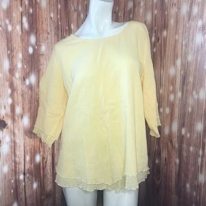 Soft Surroundings • Yellow Flowy Ruffle Blouse